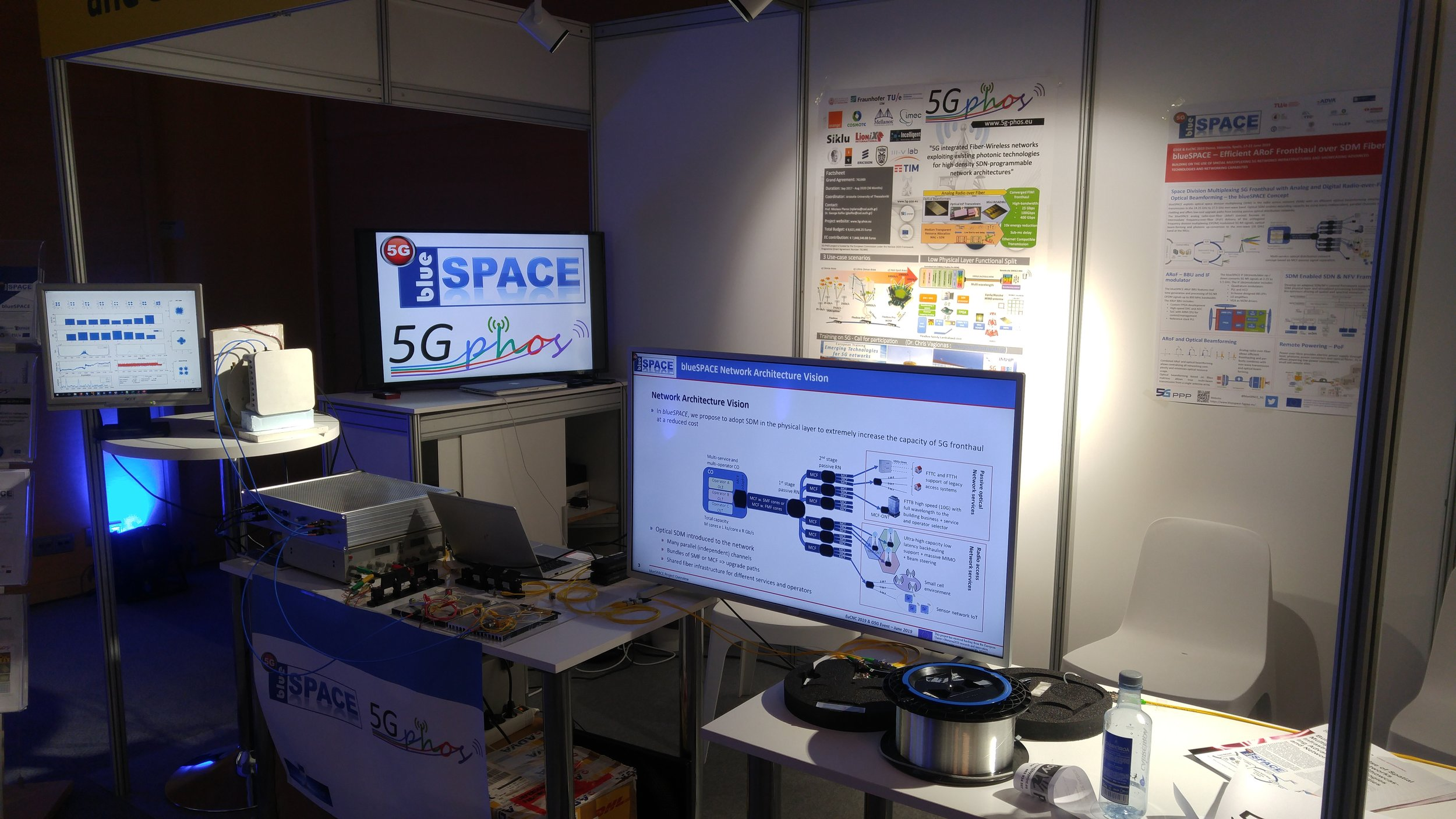 Demo booth setup at EuCNC2019 in Valencia.