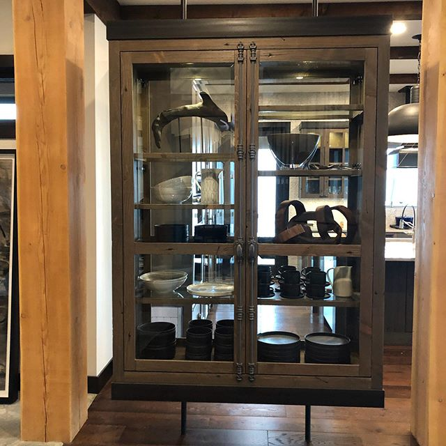 Big White Dream Job. Such an amazing project from the initial floor plan on... super thankful. Floating metal and reclaimed wood china cabinet. Love this industrial spin on ski lodge. #steelandwood #rusticdesign #lindatrenholmdesign