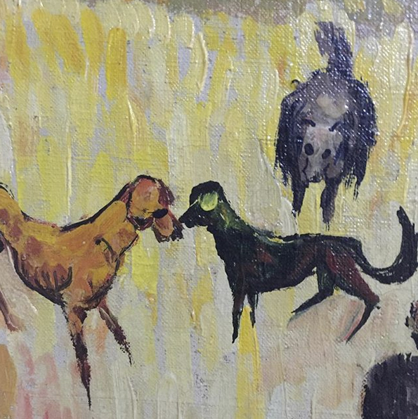 Detail from oil painting. Art dogs, Bulgaria