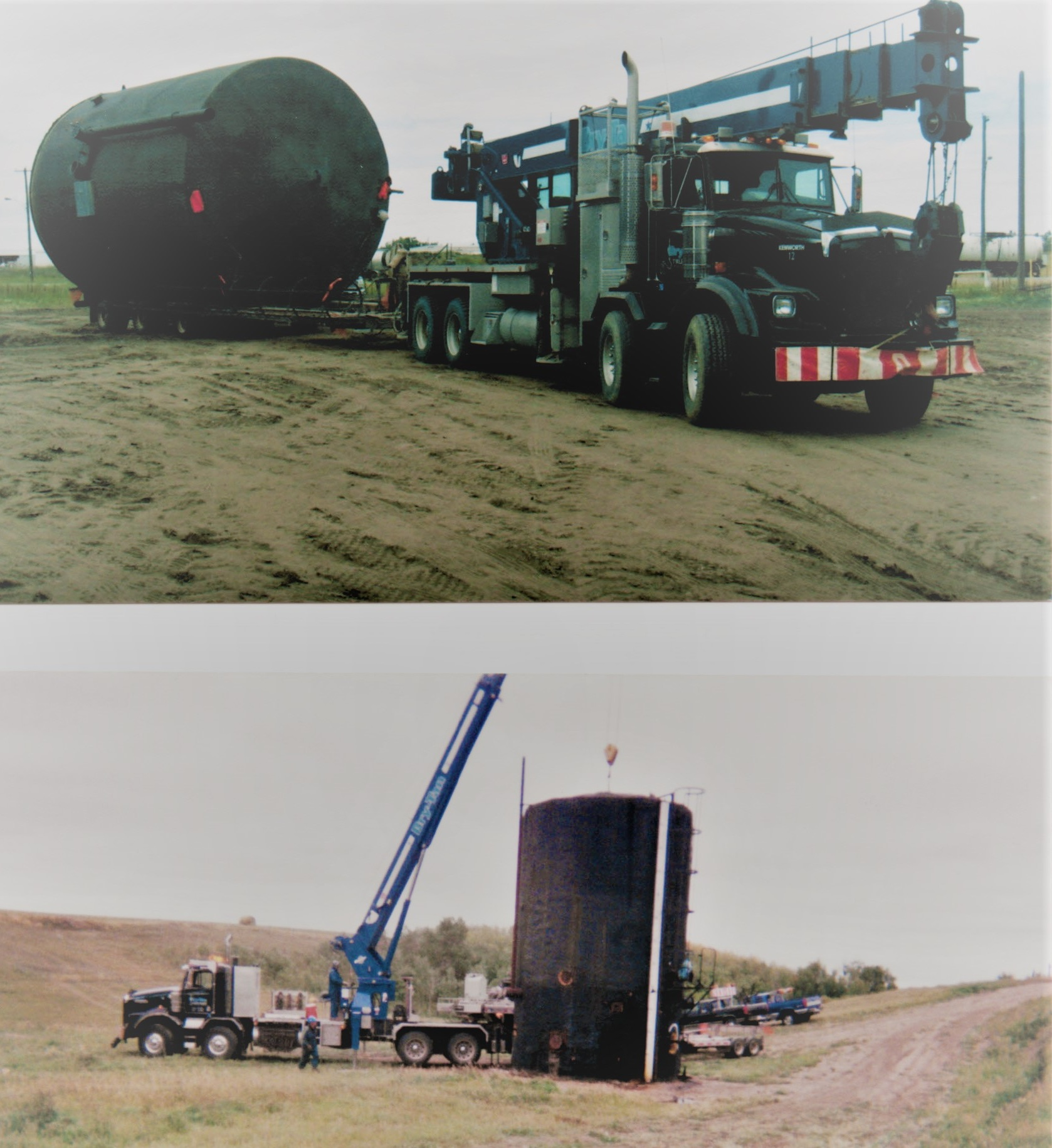 top picture: 2003 - 42 ton and tank cradle  bottom picture: 2003 - 30 ton and tank cradle