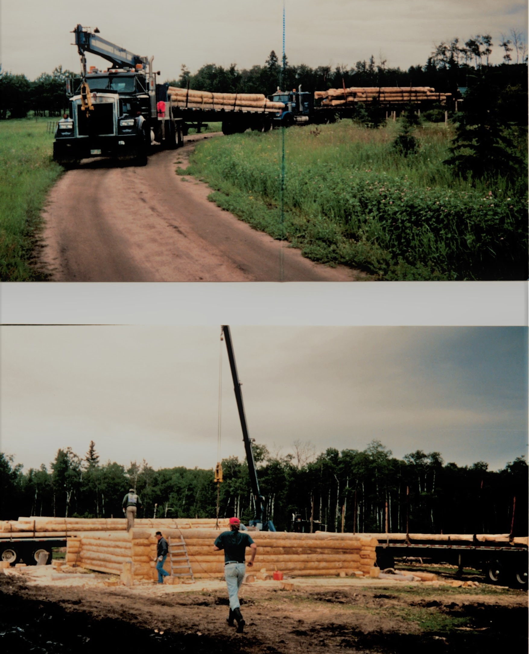 2000 - 17 ton and highway truck - hauling and setting logs for house