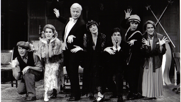 Nan McNamara (second from the left) and the cast of our 1999 production of  Something's Afoot