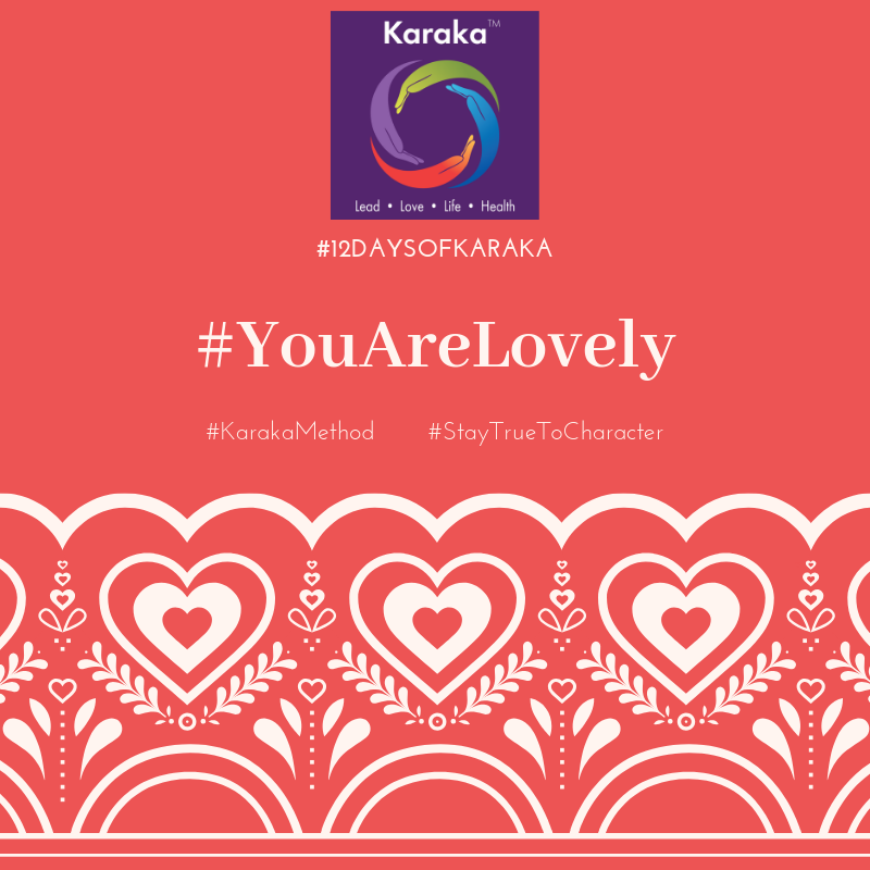 Welcome to the 5th day of the 12 days of Karaka #YouAreLovely campaign. Explore the Karaka lifestyle method exercises and share it with others. Make this your daily reminder that #YouAreLovely and enjoy s glimpse of how our Lifestyle method incorporates your true self when you LEAD, LOVE, live your LIFE and keep HEALTHY.  Day 5 - From our LOVE pillar workshops: Genuine and authentic connections and relationships are big a piece of what we talk about during our LOVE Pillar sessions. Every encounter is an opportunity for a different kind of a connection, practice making authentic connections and #StayTruetoCharacter. Here's a link into the featured video where our Character in LEAD, Dimple Dhabalia, speaks about self-care and balance and connections. #YouAreLovely   https://vimeo.com/315840226   #karakaleadyourself #karaka #karakabeforekarma #staytruetocharacter #authentic #authenticleadership #connection #leadership #collectivesignificance #4pillarsofkaraka #characterinlead #entrepreneur #mindfulness #mindfulleadership #mindfulconnection #meditation #meditate #beyou #bereal #karakamethod #corporatetraining #journaling #consciousleadership #sociallysignificantactions #executiveleadership #significantlife #makeconnections #lovehumanity #consciousliving #boston #bostonmindfulness #12daysofKaraka
