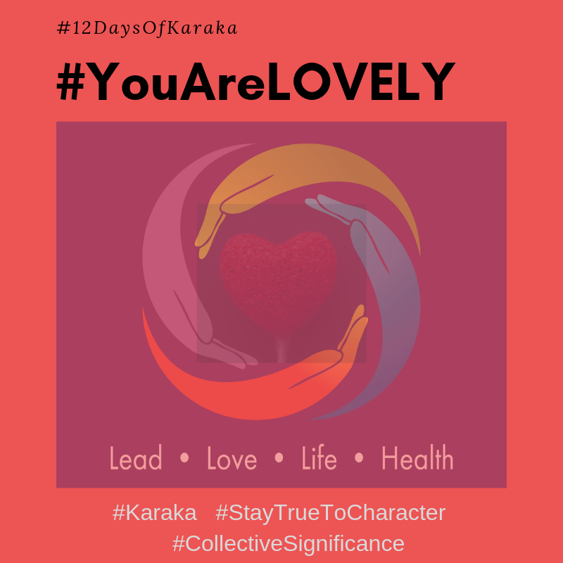 Welcome to the 6th day of the 12 days of Karaka #YouAreLovely campaign. Explore the Karaka lifestyle method exercises and share it with others. Make this your daily reminder that #YouAreLovely and enjoy a glimpse of how our Lifestyle method incorporates your true self when you LEAD, LOVE, live your LIFE and keep HEALTHY.  Day 6 - From our LOVE pillar workshops: Practice being less hard on yourself when you make a mistake. Mistakes happen to make us grow and accept ourselves and love ourselves. When we learn and grow from mistakes, we end up setting a purpose and intention for our days that let's us see things in a new light. Our own light. You will love yourself for accomplishing the purpose and intention you set out for the day and that you #StayTruetoCharacter.   #YouAreLovely #karakaleadyourself #karaka #karakabeforekarma #staytruetocharacter #authentic #authenticleadership #connection #leadership #collectivesignificance #4pillarsofkaraka #characterinlead #entrepreneur #mindfulness #mindfulleadership #mindfulconnection #meditation #meditatel #karakamethod #corporatetraining #journaling #consciousleadership #sociallysignificantactions #executiveleadership #significantlife #makeconnections #lovehumanity #consciousliving #characterandculturebydesign #boston #bostonmindfulness #12daysofKaraka