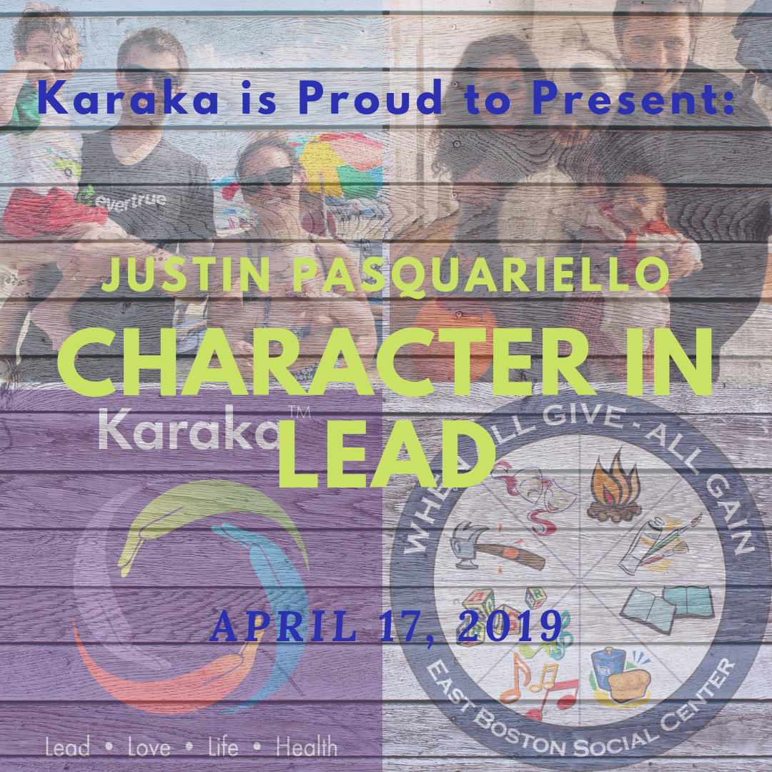 "At Karaka, we get excited when we meet and connect with leaders who give their organization a ""living form"". Those who see beyond just the name and numbers of the organization and who believe that the organization itself has a soul and a spirit. Therefore, it gives us great JOY and HONOR to present to you our next ""Character in LEAD"",  Justin Pasquariello . Justin is the Executive Director of the East Boston Social Centers, a non-profit organization where people can come to foster long and STRONG relationships; to live a piece of their PURPOSE; and to have FUN. It offers community programs, serving people across the lifespan, from Welcome Baby to older adult programs, and a place to call an extended home to its community. Please mark your calendars to read about Justin's journey, and how his own VISION aligns with the honorable work he does within his community.  If you've figured out what ""Character"" trait we're featuring Justin for, please comment and ensure to hashtag EBSocialCenters and Karaka along with the character trait you've guessed.  Mark your calendars the article will be released on Wednesday April 17, 2019.  #EBSocialCenters #karaka #karakaLEAD #SocialEntrepreneur #authenticleadership #community #boston #NewEngland #Massachusetts #StayTrueToCharacter #CollectiveSignificance #Mindfulleadership #mindfulness #CharacterandCulturebyDesign #karakamethod #volunteer #BigPicture #Visionary #Joy #Happy #Balance #Purpose #CharacterinLEAD"