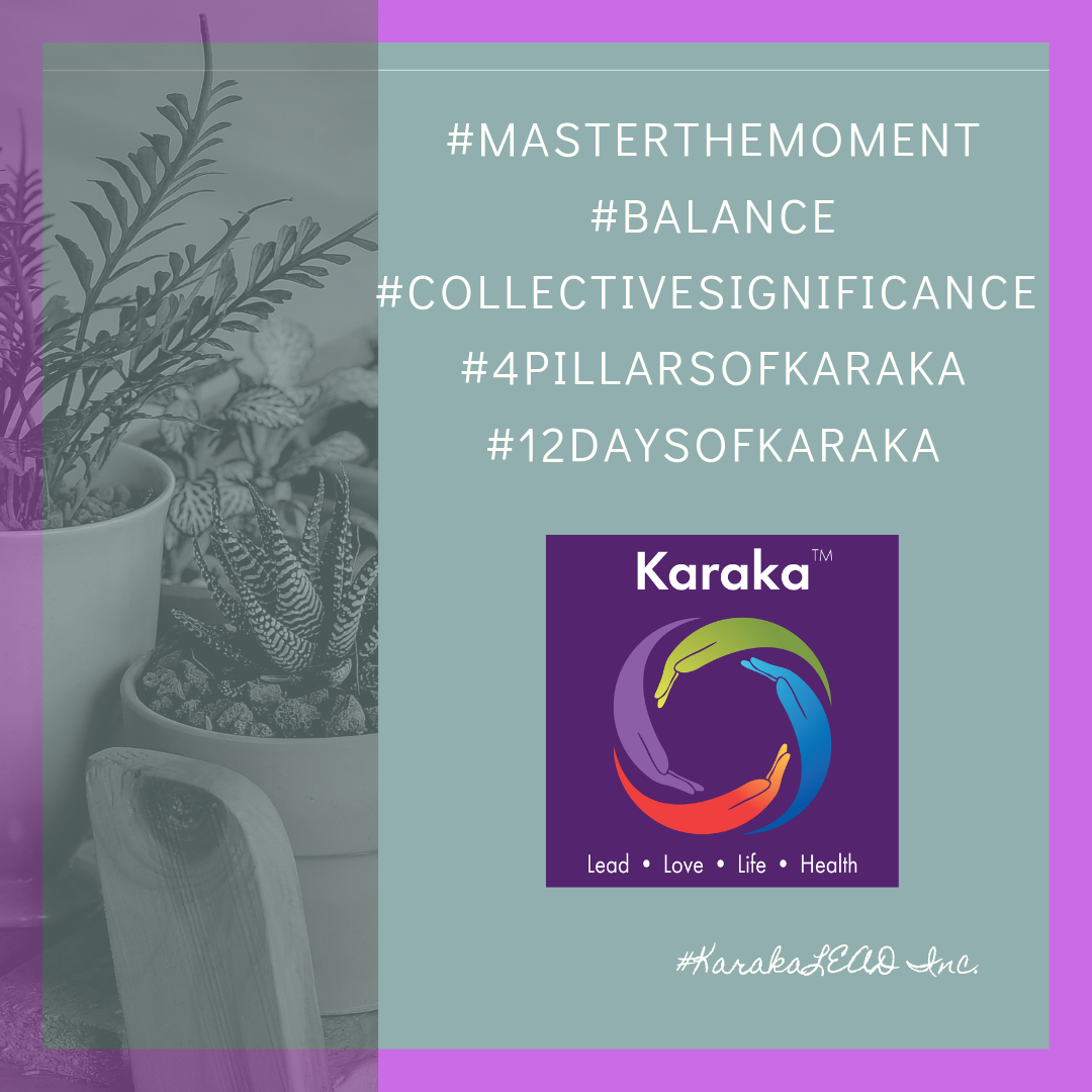 "We are on  day 12  of our 12 days of Karaka #MasterTheMoment campaign.  On this last day, we will recognize the power of meditation and how it teaches you to truly master the moment. Practicing meditation allows us to be fully in the moment, to be and to feel whole. It really is SELF-transforming. Such practice also allows us to be self-aware and awake in the moment. Anyone can do it, it is non-denominational, it is ancient and it changes the quality of one's life forever. Our workshops integrate some of it across all our pillars and needless to say, true to our name brand's meaning, Karaka, we think it ""causes SIGNIFICANCE"". We hope you enjoyed our 12 Days of Karaka. Get involved, we would LOVE to hear from you, please reach out. Let's introduce our program/method to your community/group/company/association.   #12DaysofKaraka #Karaka #KarakaLEAD #MasterTheMoment #WholeBeing #selfaware #CollectiveSignificance #SociallySignificantActions #Consciousness #Mindfulness #AuthenticLeadership #KarakaMethod #KarakaLifestyle #StayTrueToCharacter #MindfulMoment #BostonMindfulness #NewEngland #Wellness #Leadership #4PillarsofKaraka #KarakaLEADYourself #BalanceIntegration #Balancein4s #BalancedLifestyle #significantlife #meditate #balance #joy #relationship #resilience #connection #authenticity #visionary"