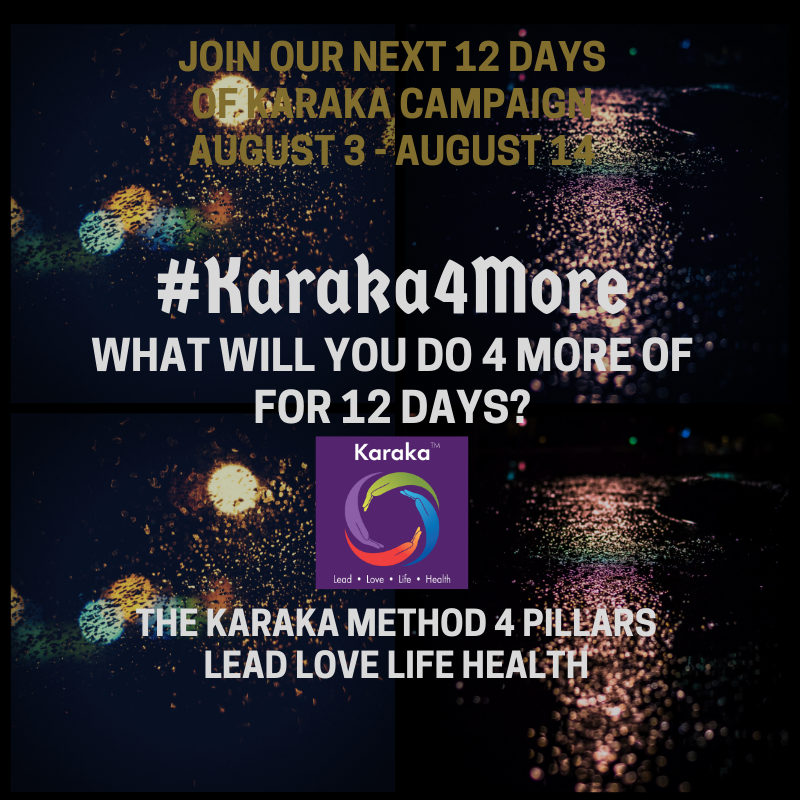 "POSITIVITY Alert! What will you do 4 more of for the next 12 days?  We are launching another 12 Days of Karaka campaign tomorrow! Yes, we get excited about these things…...  The campaign is titled: #Karaka4More  For 12 days we are encouraging all of you to do and think 4 more positive acts and thoughts. We will organize the campaign based on our #KarakaMethod 4 Pillars LEAD, LOVE, LIFE and HEALTH.  Here's how this works: Each day we pick a #KarakaMethod pillar and for the next 12 days we will list 4 positive things we did or will do within that pillar. We will start tomorrow with our first pillar: #LEADPillar.  Easy and impactful! This is our aim. Let's spark the positivity for August! We are looking forward to your participation and hope that by your participation we will truly spark a positive ""Collective Significance"" within our lives and others.  The #Karaka4More campaign will run for 12 days August 3 - August 14. . We are so excited to spark positivity in all your lives for the next 12 day in August! Let's raise the positivity levels….individually and collectively.   #12DaysofKaraka #KarakaLEAD #Karaka4More #MindBodySpirit #CollectiveSignificance #SociallySignificantActions #LEADPillar #Consciousness #Mindfulness #AuthenticLeadership #KarakaMethod #KarakaLifestyle #StayTrueToCharacter #LOVEPillar #BostonMindfulness #LIFEPillar #Wellness #Leadership #4PillarsofKaraka #HEALTHPillar #BalanceIntegration #Balancein4s #BalancedLifestyle #meditate #balance #Positivity #Spark #Happiness #resilience #connection #authenticity #StartFromSpirit"