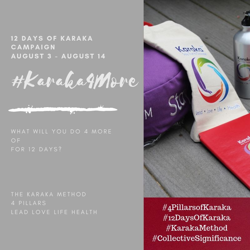 What will you do 4 more of on your fourth day of Karaka4More?  Day 4 - #Karaka4More  Today we will focus on the Karaka Method #HEALTHPillar. Here are some suggestions on 4 more positive thoughts and acts:  1) Be sure to go out for your daily walk/run. Karaka4More minutes today?  2)Be sure to drink your daily water intake. Karaka4More glasses today?  3) Be sure to fill your lunch/dinner plate with veggies. Karaka4More veggies today?  4) Be sure to practice gratefulness for what you are/have. Karaka4More grateful thoughts today?  Feel free to customize as you please for your own day.  We would be happy to hear from you on how you're progressing on the #Karaka4More positivity campaign. Drop us a line!  Stay True to Character.  #Karaka #12DaysofKaraka #KarakaLEAD #Karaka4More #MindBodySpirit #CollectiveSignificance #SociallySignificantActions #LEADPillar #Consciousness #Mindfulness #AuthenticLeadership #KarakaMethod #KarakaLifestyle #StayTrueToCharacter #LOVEPillar #BostonMindfulness #LIFEPillar #Wellness #Leadership #4PillarsofKaraka #HEALTHPillar #BalanceIntegration #Balancein4 #BalancedLifestyle #meditate #balance #Positivity #Spark #Happiness #resilience #connection #authenticity #selflove #Love #ChangeStartsfromWithin #StartFromSpirit #Growth #manifest #positivethoughts #affirmations #powerofpositivity #wisdom