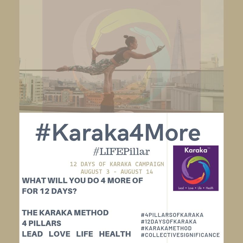 What will you do 4 more of on your 7th day of Karaka4More?  Day 7 - #Karaka4More  Today we will focus on the Karaka Method #LIFEPillar. We're leaving you with 4 more positive thoughts and acts.  1)Be committed to what your goals are.  2)Make the journey to your goals and achievements fun.  3)Embrace a growth mindset.  4)Develop an endless curiosity.  Let's stay connected, drop us a line and let us know how your 12 Days of Karaka are going?  #StayTruetoCharacter  #Karaka #12DaysofKaraka #KarakaLEAD #Karaka4More #MindBodySpirit #CollectiveSignificance #SociallySignificantActions #LEADPillar #Consciousness #Mindfulness #AuthenticLeadership #KarakaMethod #KarakaLifestyle #StayTrueToCharacter #LOVEPillar #BostonMindfulness #LIFEPillar #Wellness #Leadership #4PillarsofKaraka #HEALTHPillar #BalanceIntegration #Balancein4 #BalancedLifestyle #meditate #balance #Positivity #Spark #Happiness #resilience #connection #authenticity #selflove #Love #ChangeStartsfromWithin #StartFromSpirit #Growth #manifest #positivethoughts #affirmations #powerofpositivity #wisdom