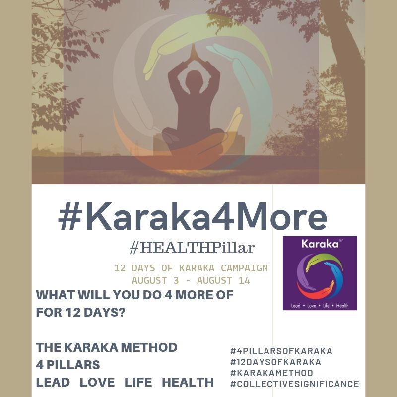 What will you do 4 more of on your 8th day of Karaka4More?  Day 8 - #Karaka4More  Today we will focus on the Karaka Method #HEALTHPillar. We're leaving you with 4 more positive thoughts and acts.  1)Get enough sleep.  2)Minimize sugar intake.  3)Try new types of herbs and spices in your cooking/food.  4)We look at a healthy life not just by our food intake and exercise routines, from our perspective it includes what you do for your lifestyle socially and emotionally.  Let's stay connected, drop us a line and let us know how your 12 Days of Karaka are going?  #StayTruetoCharacter  #Karaka #12DaysofKaraka #KarakaLEAD #Karaka4More #MindBodySpirit #SocialEmotionalHEALTH #CollectiveSignificance #SociallySignificantActions #LEADPillar #Consciousness #Mindfulness #AuthenticLeadership #KarakaMethod #KarakaLifestyle #StayTrueToCharacter #LOVEPillar #BostonMindfulness #LIFEPillar #Wellness #Leadership #4PillarsofKaraka #HEALTHPillar #BalanceIntegration #Balancein4 #BalancedLifestyle #meditate #balance #Positivity #Spark #Happiness #resilience #connection #authenticity #selflove #Love #ChangeStartsfromWithin #StartFromSpirit #Growth #manifest #positivethoughts #affirmations #powerofpositivity #wisdom