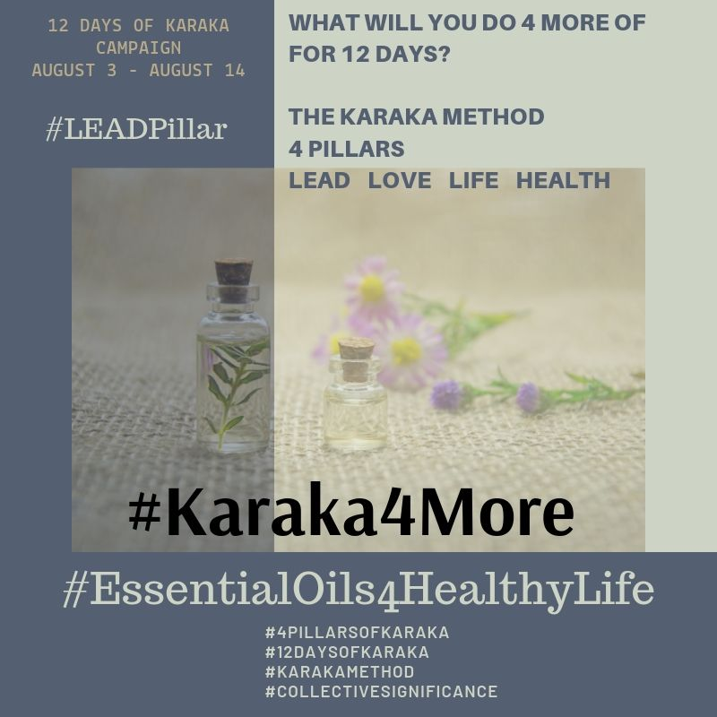 What will you do 4 more of on your 9th day of Karaka4More?  Day 9 - #Karaka4More  We are delighted to be collaborating with @essentialoils4healthylife. Our focus today is #LEADPillar.  1)Step out of your comfort zone and reach out to 4 more people.  2) Attend a networking event near you. You will never know who you will meet.  3)Put a drop of Wild Orange and Peppermint essential oils in your palms and rub your hands together. It will give you motivation to try something new.  4)When results are not the way you originally set out to do, try a change of perspective and ride the wave. It is a marathon not a sprint.  Let's stay connected, drop us a line and let us know how your 12 Days of Karaka are going?  #StayTruetoCharacter  #Karaka #12DaysofKaraka #KarakaLEAD #Karaka4More #MindBodySpirit #EssentialOils #Oils #NaturalHealing #CollectiveSignificance #SociallySignificantActions #LEADPillar #Consciousness #Mindfulness #AuthenticLeadership #KarakaMethod #KarakaLifestyle #StayTrueToCharacter #4PillarsofKaraka #HEALTHPillar #BalanceIntegration #Balancein4 #BalancedLifestyle #Positivity #Spark #ChangeStartsfromWithin #positivethoughts #affirmations #powerofpositivity