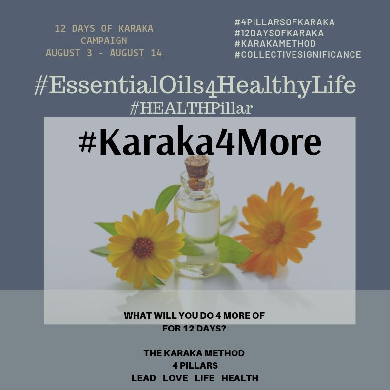 Day 12 - #Karaka4More #EssentialOils4HealthyLife  It's the last day of this #positivity campaign. A big thank you to Tammy Stefanik Longo for her valuable contribution to our campaign! Here's some more from her for our #HEALTHPillar.  Simple swaps can create new healthy habits. Incorporate 4 more ways to live a healthier life.  1)Cut back on toxins by taking a look at your cleaning products and the chemicals that are in them. One of my favorite DIY recipes is a basic all purpose cleaning spray and it's so easy to make.  Combine in an 8 ounce glass spray bottle: fill 3/4 of the way with water,1/4 of the way with vinegar and 20 drops of your favorite essential oil like lemon or lavender. It's a great way to get started with detoxing your cleaning products.  2)Take your vitamins so you can be healthy from the inside out.  3) Try a new smoothie or juice recipe  4) Start reading labels on the products you use. Cutting back on chemicals is one way to reduce your toxic load and live a healthier life.  We hope you enjoyed the 12 Days of Karaka, #Karaka4More positivity campaign in collaboration with #EssentalOils4HealthyLife .  Did we inspire more positivity, individually and collectively? Get in touch and let us know. We would LOVE to hear from you.  #Karaka #12DaysofKaraka #KarakaLEAD #Karaka4More #MindBodySpirit #EssentialOils #Oils #NaturalHealing #CollectiveSignificance #SociallySignificantActions #LEADPillar #Consciousness #Mindfulness #AuthenticLeadership #KarakaMethod #KarakaLifestyle #StayTrueToCharacter #LOVEPillar #BostonMindfulness #LIFEPillar #Wellness #Leadership #4PillarsofKaraka #HEALTHPillar #BalanceIntegration #Balancein4 #BalancedLifestyle #meditate #balance #Positivity #Spark #Happiness #resilience #connection #authenticity #selflove #Love #ChangeStartsfromWithin #StartFromSpirit #Growth #manifest #positivethoughts #affirmations #powerofpositivity #wisdom