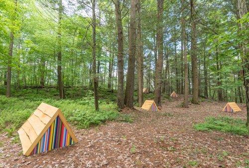 Matt LeFleur,  The Camp , 2017, wood and paint