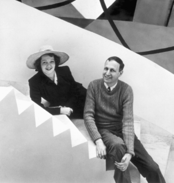 George L.K. Morris and Suzy Frelinghuysen on the marble staircase in their home. Photo credit: Frelinghuysen Morris House & Studio