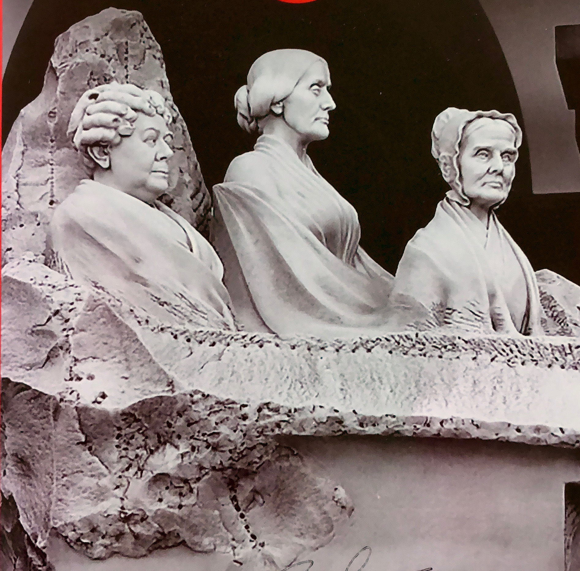 The Portrait Monuments: Lucretia Mott, Elizabeth Cady Stanton and Susan B. Anthony by Adelaide Johnson,  completed in 1921, it took years to finally arrive in the Capitol building.