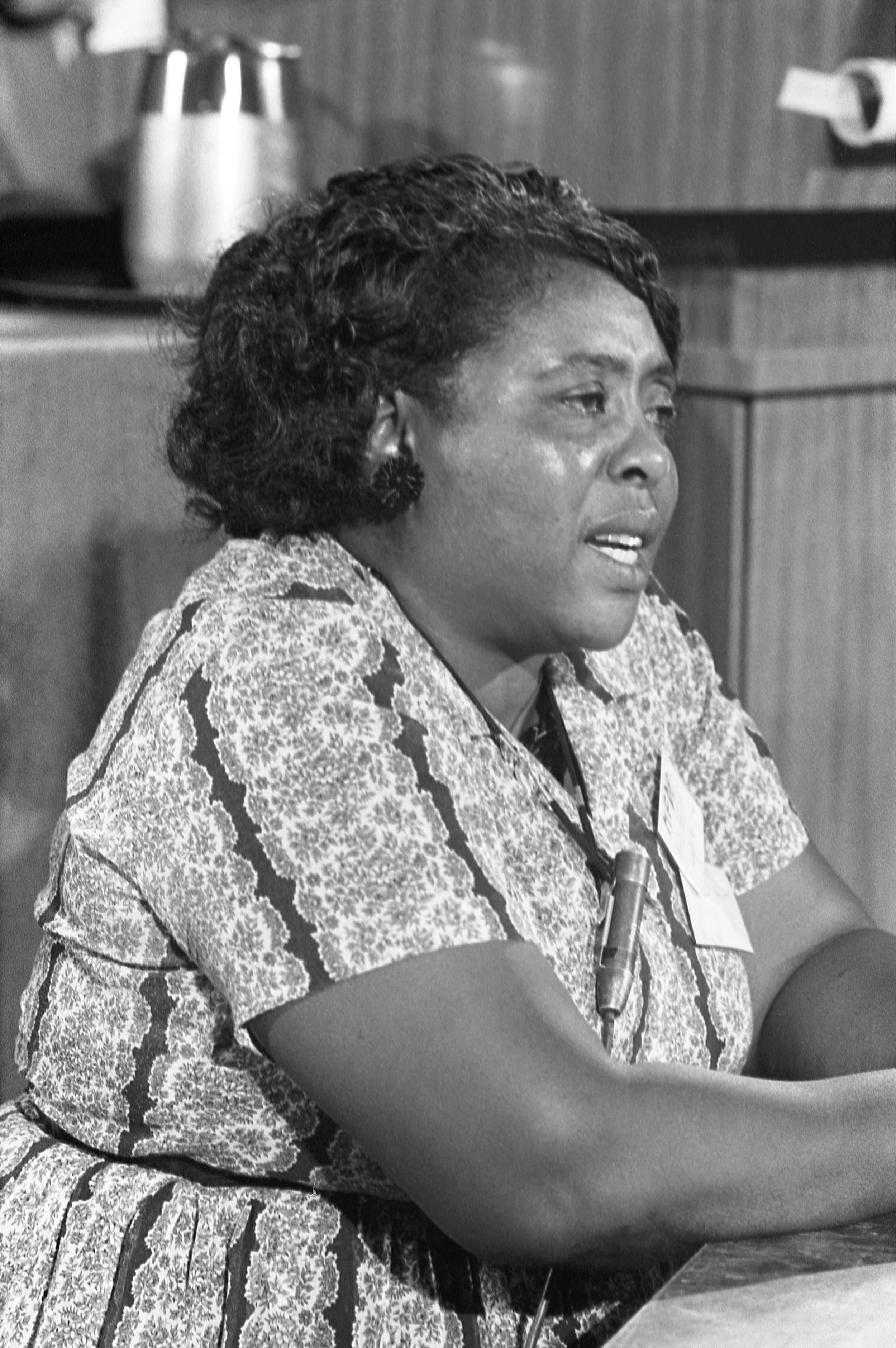 "Photo credit:  Warren Leffler, U.S. New & World Report Magazine  On July 4, 2019, Time Magazine published an article called, "" 15 unsung moments from American history.""  Mississippi Freedom Democratic Party delegate Fannie Lou Hamer speaks out for the meeting of her delegates at a credential meeting prior to the formal meeting of the Democratic National Convention.  On Aug. 22, 1964,  Fannie Lou Hamer  delivered  one of the most powerful speeches in U.S. history . The fiery civil rights activist traveled all the way from Mississippi to Atlantic City, N.J., to challenge the all-white Mississippi delegation to the Democratic National Convention (DNC). Before a televised audience of millions of viewers, this former sharecropper, who had registered to vote for the first time in her 40s, demanded black political rights and boldly denounced voter suppression and state-sanctioned violence. Despite President Lyndon B. Johnson's  attempt  to silence Hamer,  her testimony sent shock waves throughout the nation, and set in motion a series of events that ultimately led to the passage of the 1965 Voting Rights Act.  Mainstream narratives of the Civil Rights Movement tend to focus on high-profile events — and often through the perspectives of men. Yet Hamer's story, and her iconic speech before the DNC in 1964, represent one of the most significant developments during this period."