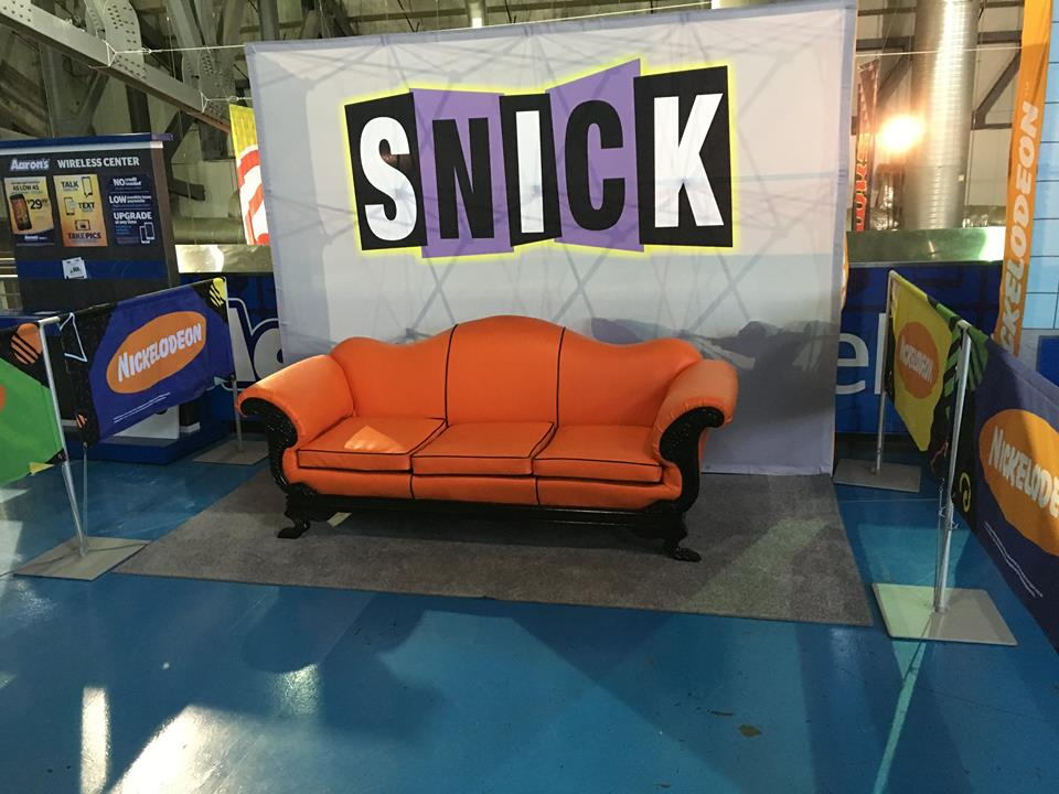 One of 2 Nickelodeon SNICK couches upholstered for a promotion.