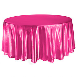 Fuchsia Satin Table Cover   Reserve Now