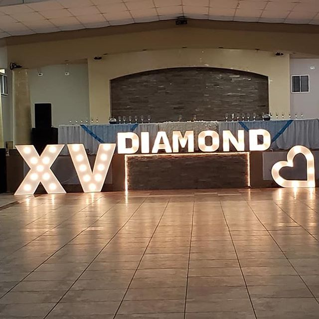 Lighted letters and linen rentals for Diamond, happy birthday! 🥳🎈💐💡💡💡 Special thanks to @divinediannelove for always using our services for her special events! 🤗