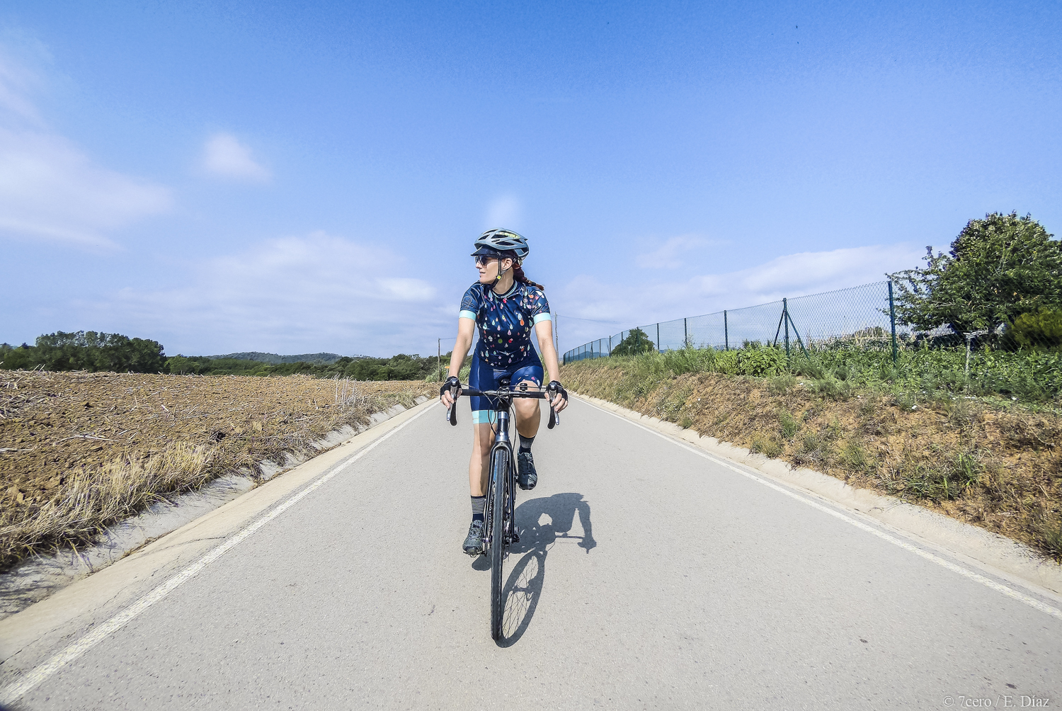 Get outside, it's free. And look, it's beautiful! Vanya cycling in the Girona province, Catalunya, Spain.