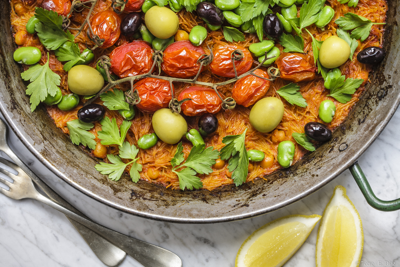 Vegan Fideuá: A modern twist on a traditional Catalan dish, similar to a paella. A summer classic.