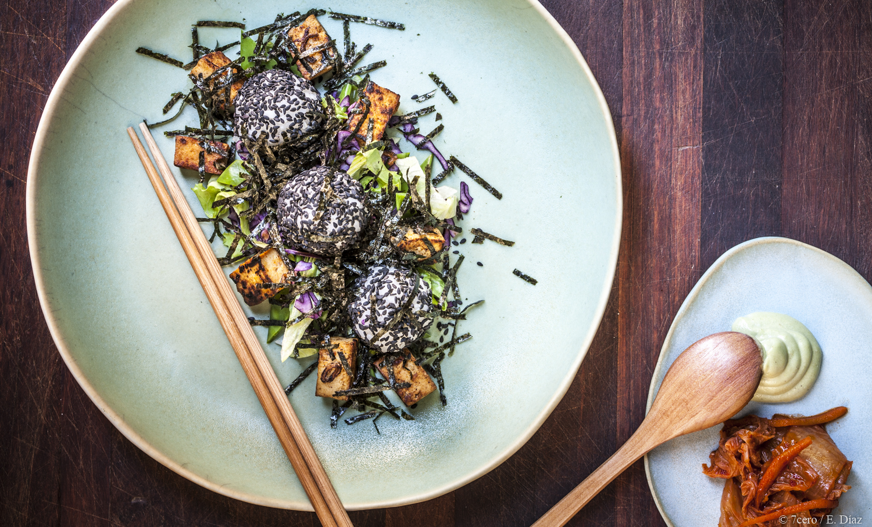Smoked Tofu with sushi rice balls, coleslaw, kimchi, and wasabi mayo. HOT.