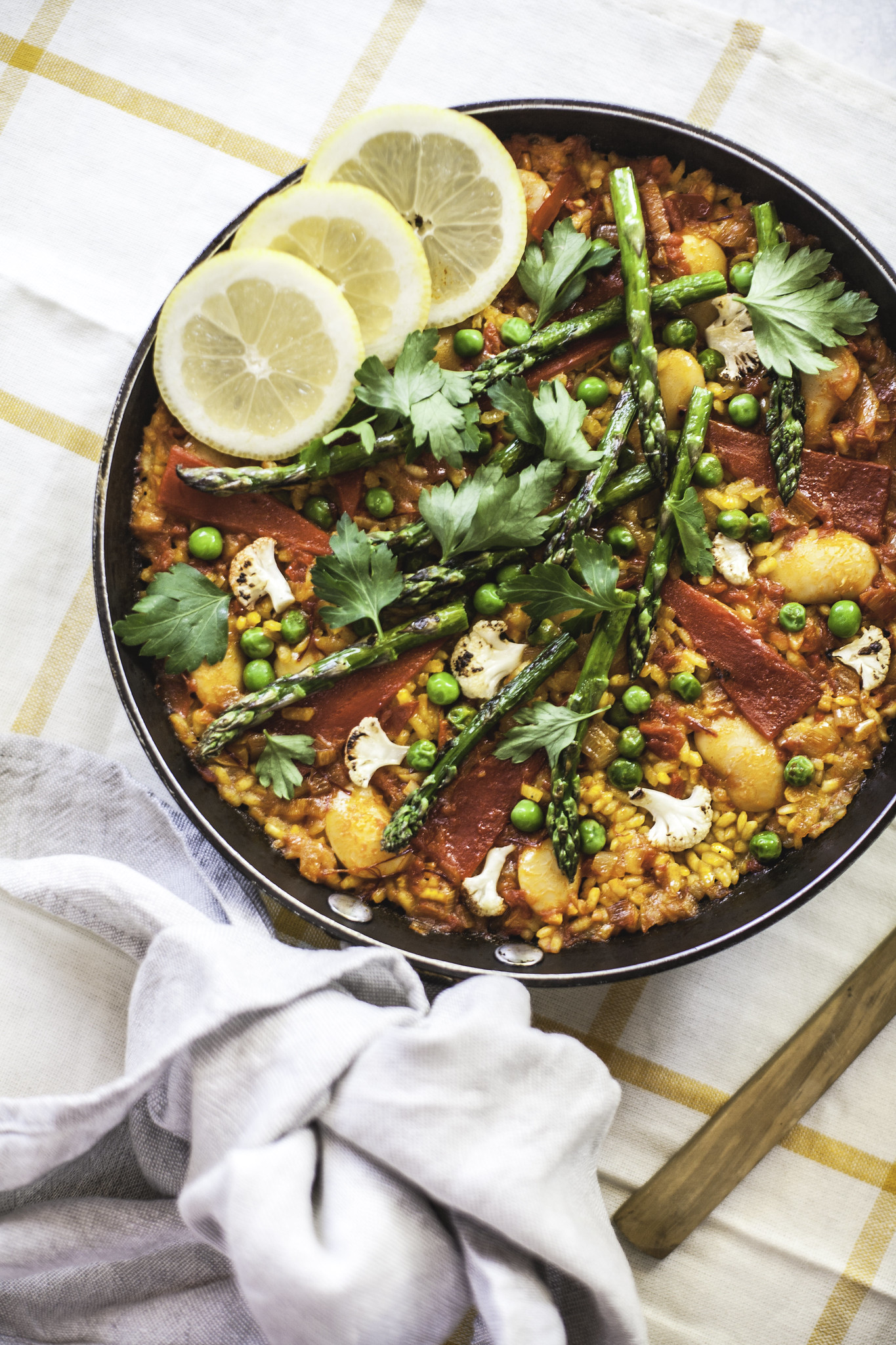 Vibrant vegetable Paella, ready to eat