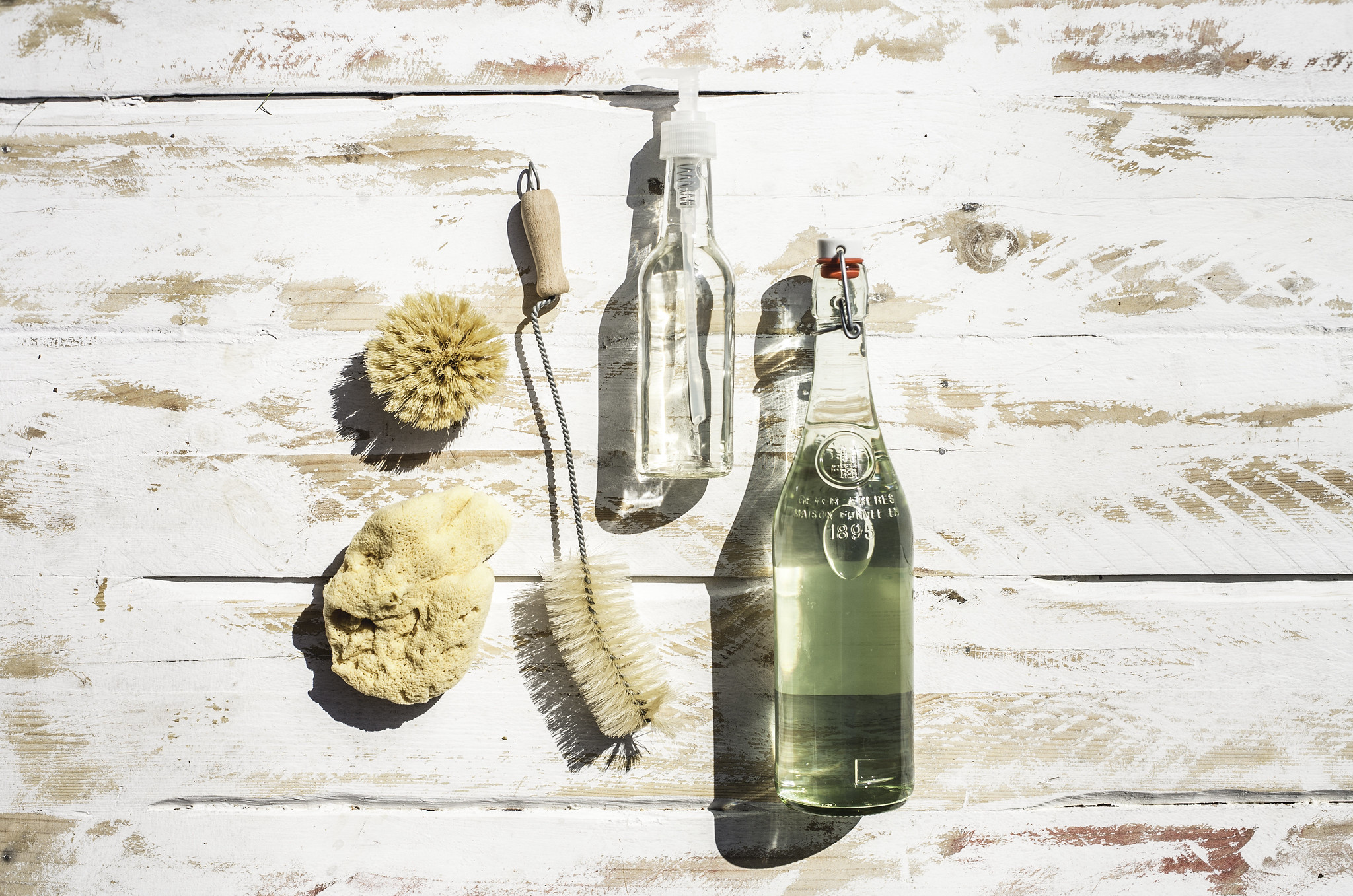 We use biodegradable soap for the kitchen and washing the van, bought in bulk using recycled lemonade and soy sauce bottles!  We use a natural bristled bottle washer, pot scrubber and just started using a sea sponge we picked up in Croatia for wiping surfaces and washing the dishes.