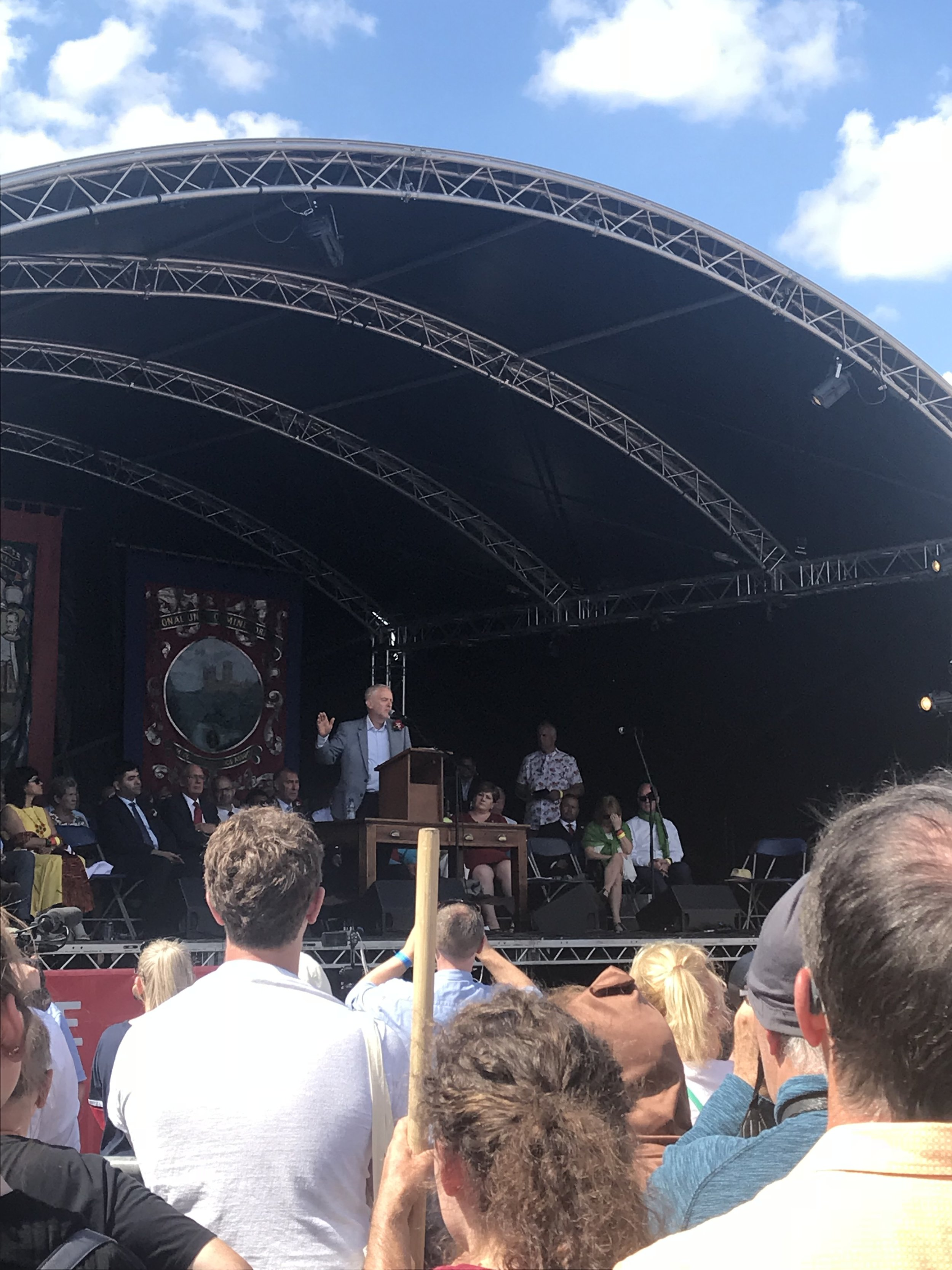 Jeremy Corbyn dressing the crowds from the new stage