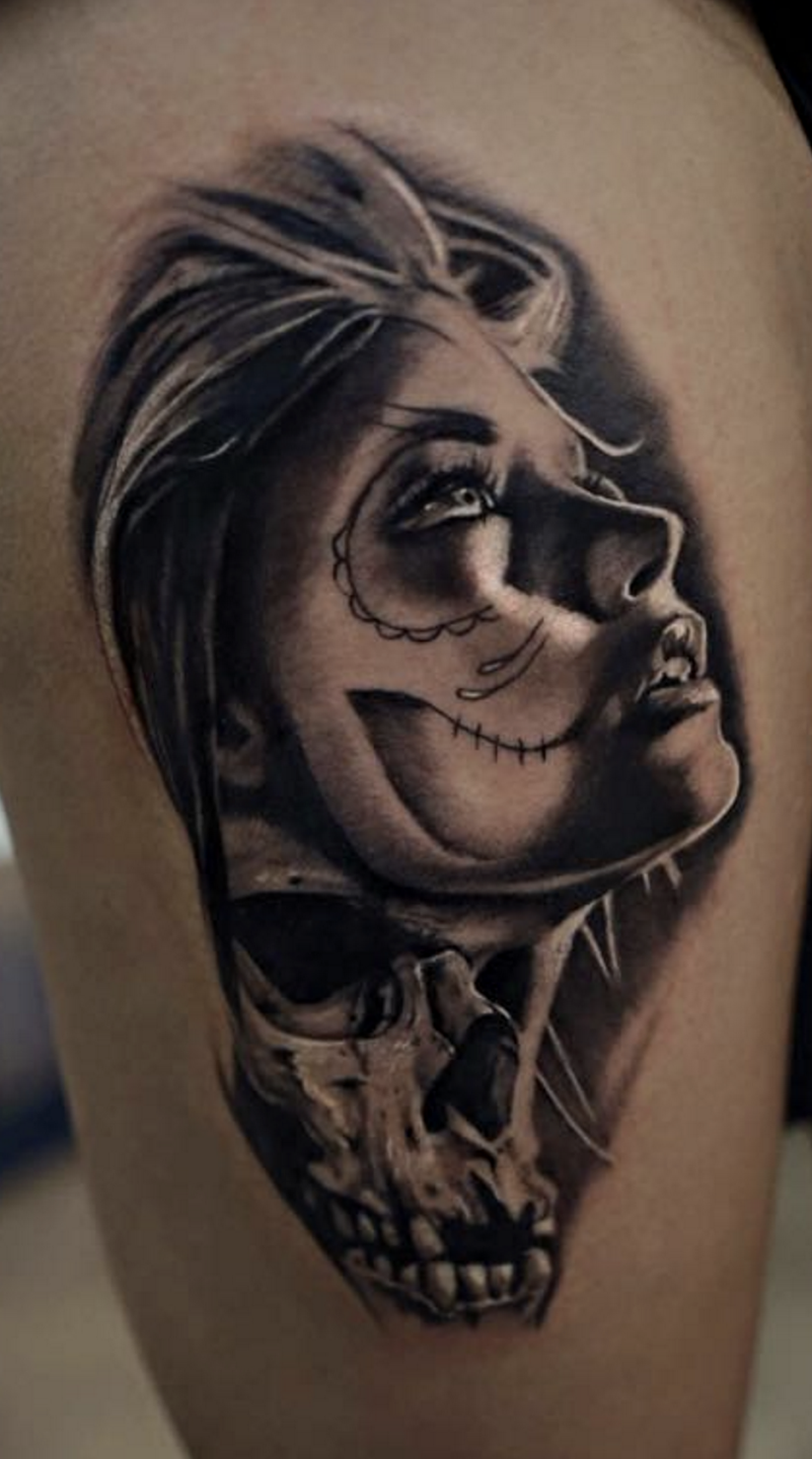 Photorealistic woman tattoo by Scoot Ink