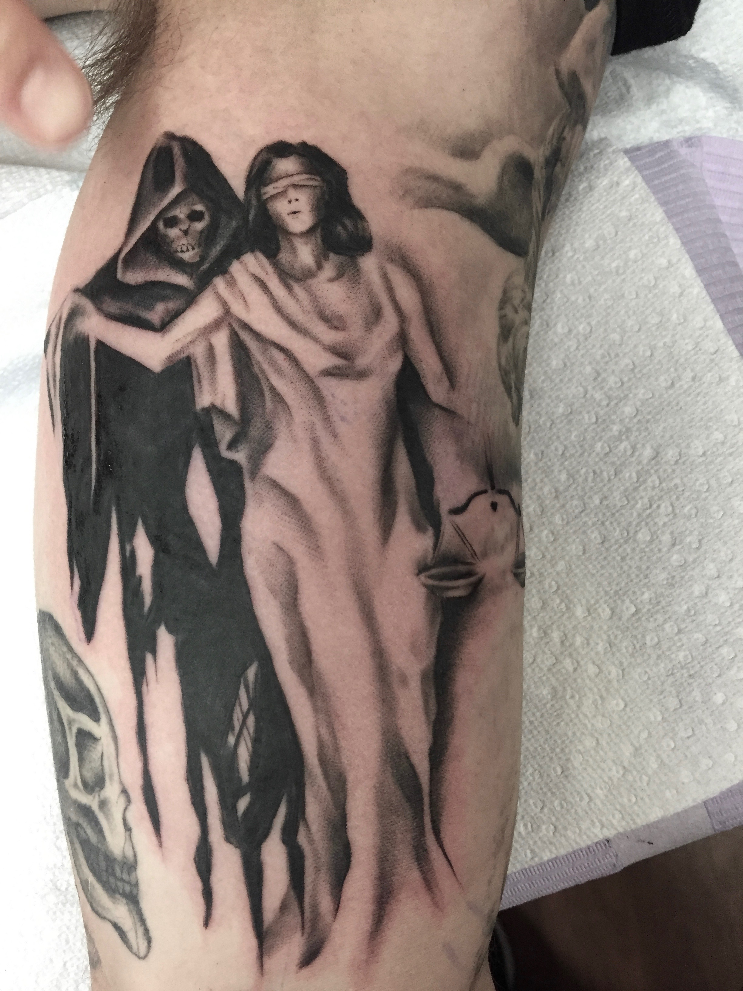 Blackwork death tattoo by Alveno