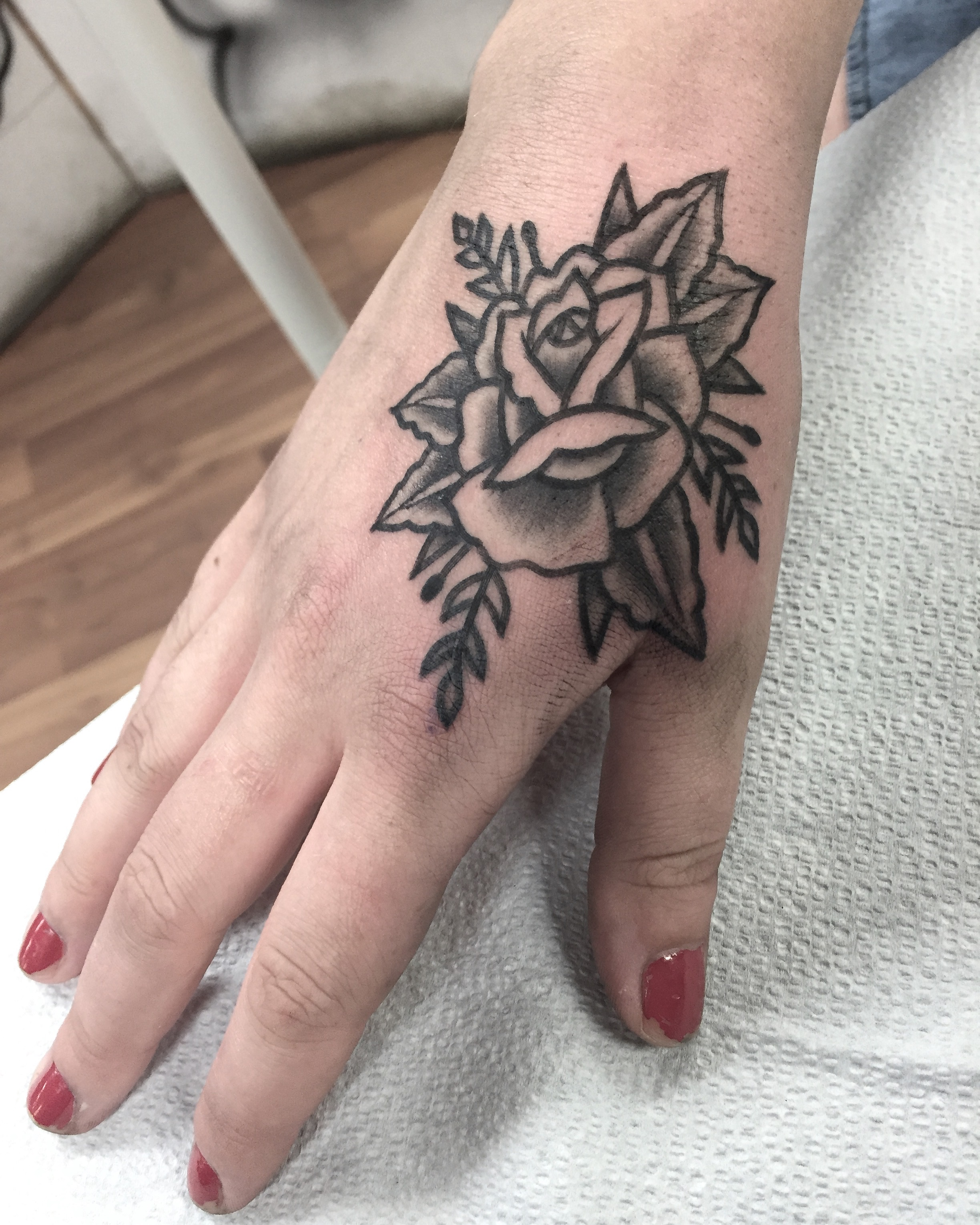 Blackwork flower tattoo by Alveno
