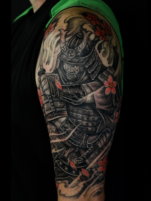 Asian style samurai and oni mask tattoo by Winson Tsai