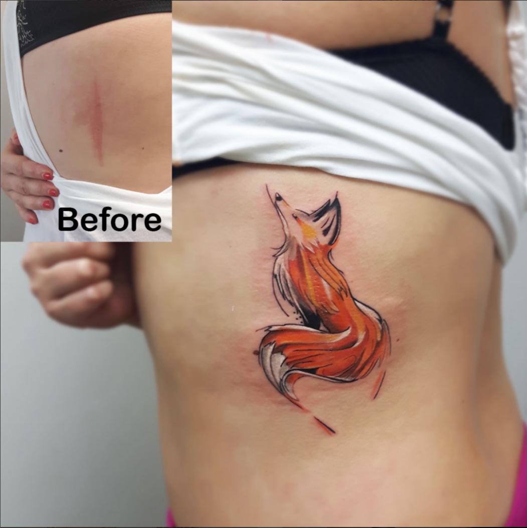 Watercolour fox tattoo by CT
