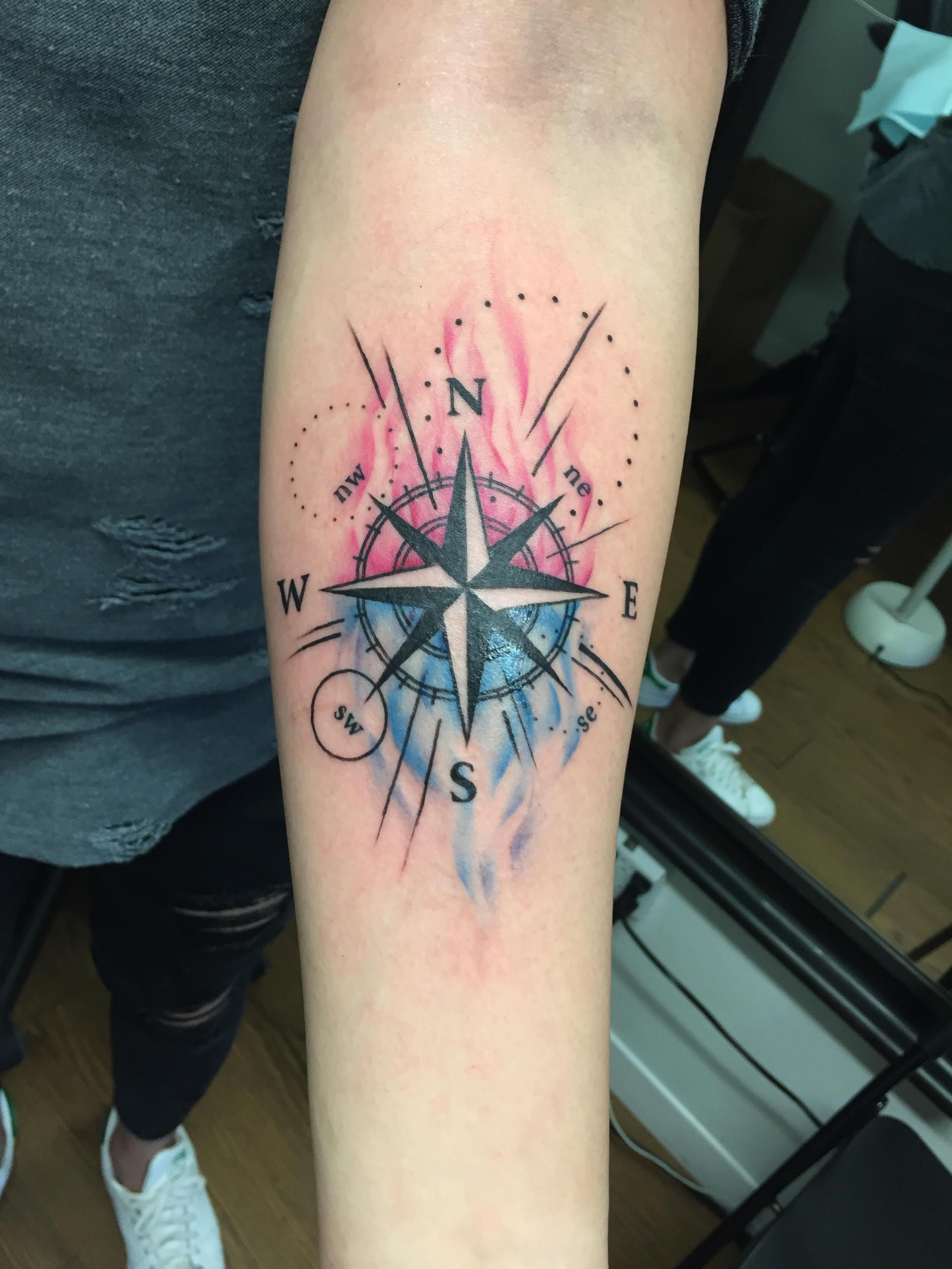 Watercolour compass tattoo by Alveno