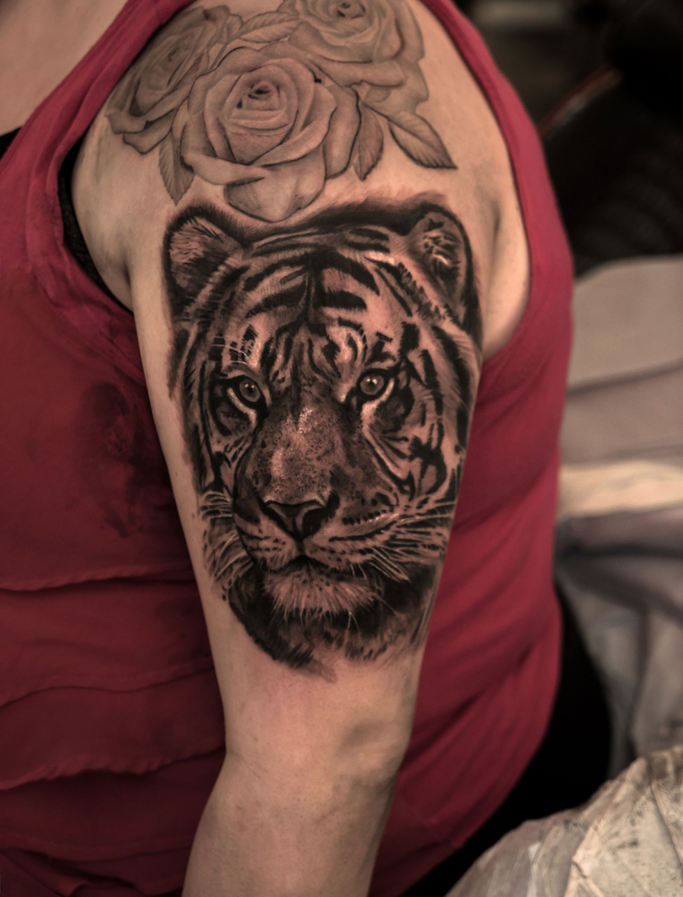 Photorealistic tiger tattoo by Scoot Ink