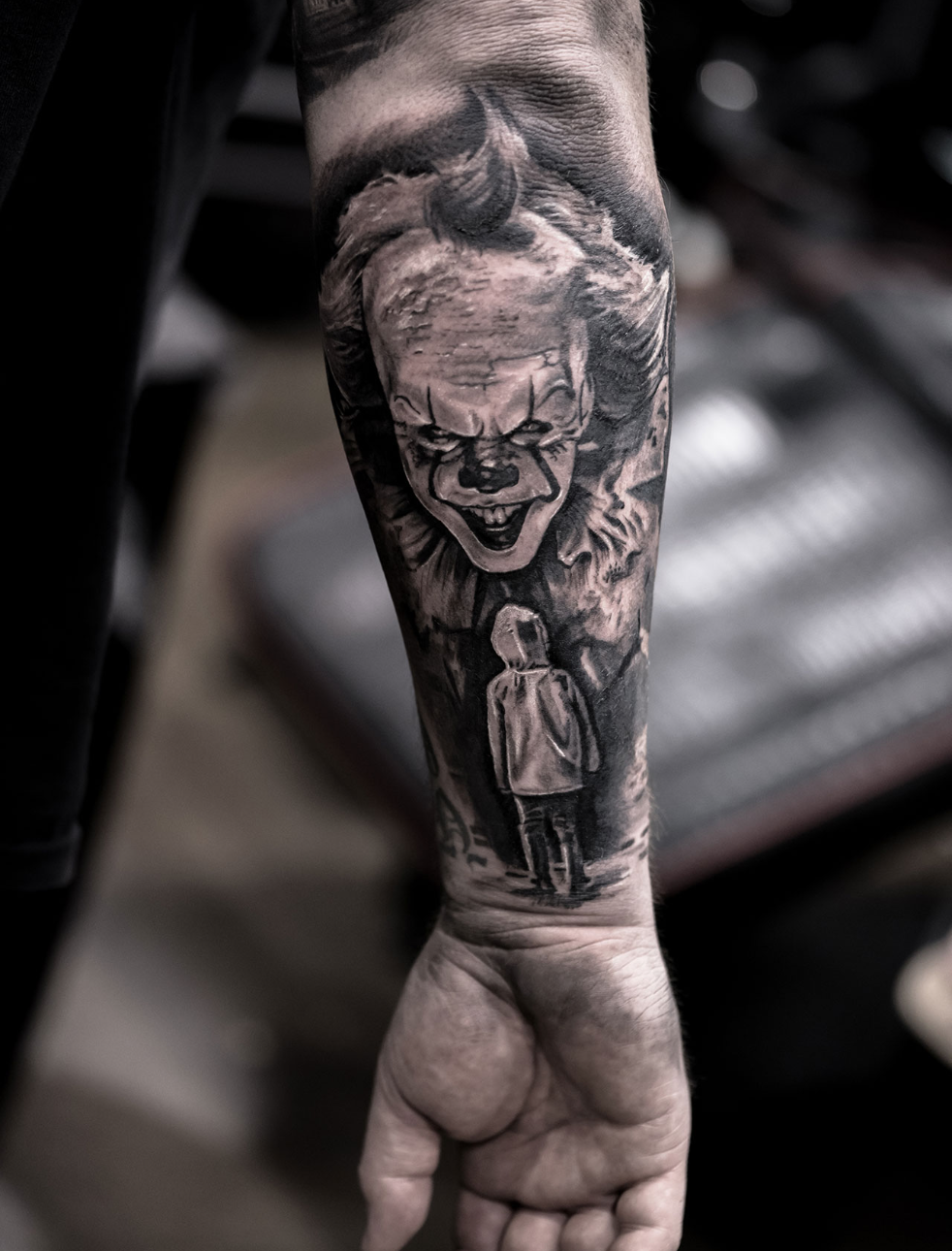 Photorealistic pennywise the clown tattoo by Scoot Ink