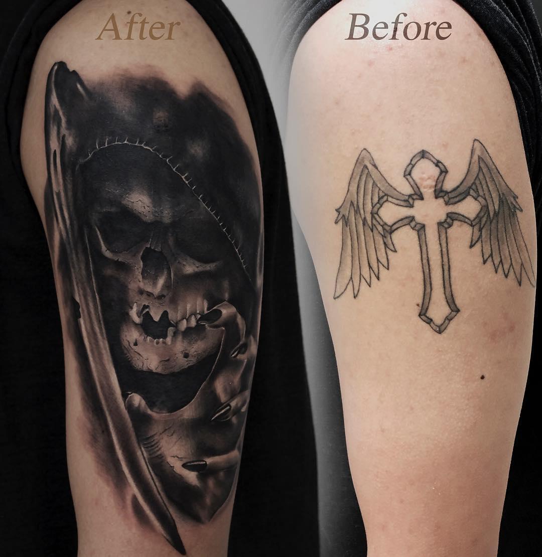 Grim reaper cover up tattoo