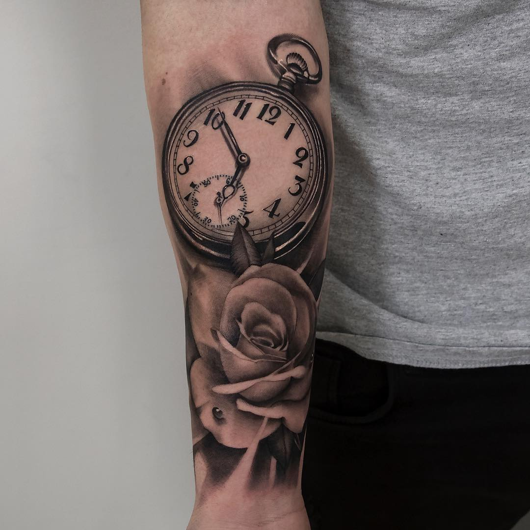 Realism pocket watch and rose tattoo by Shark