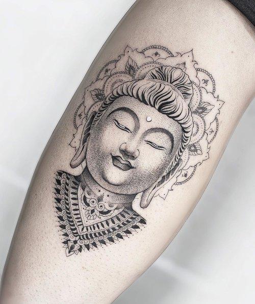 Blackwork buddha tattoo