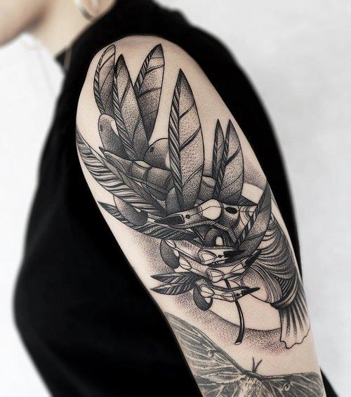 Blackwork nature tattoo by Anthriller Montana