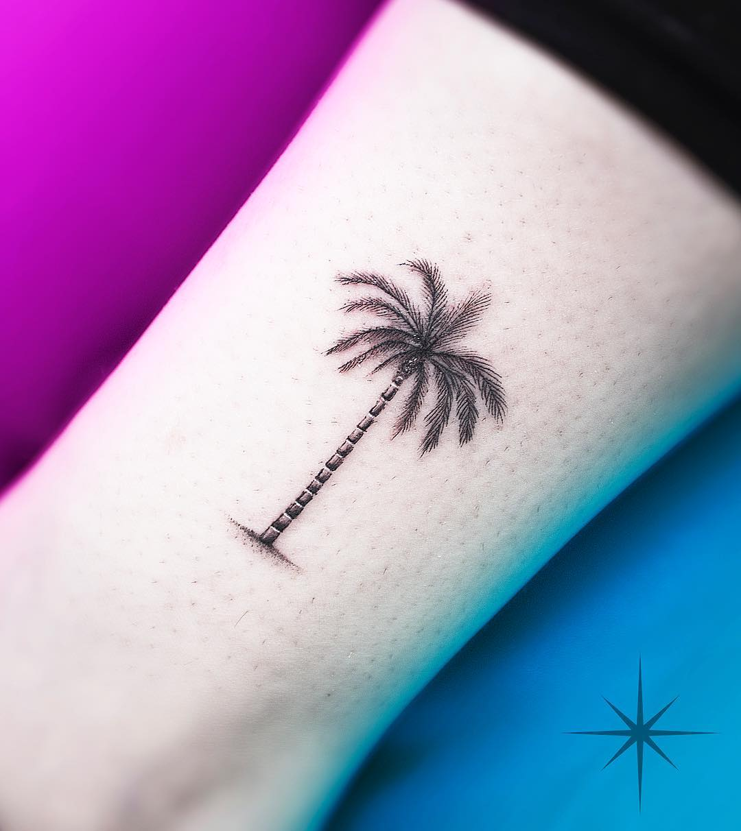 palm tree fineline tattoo