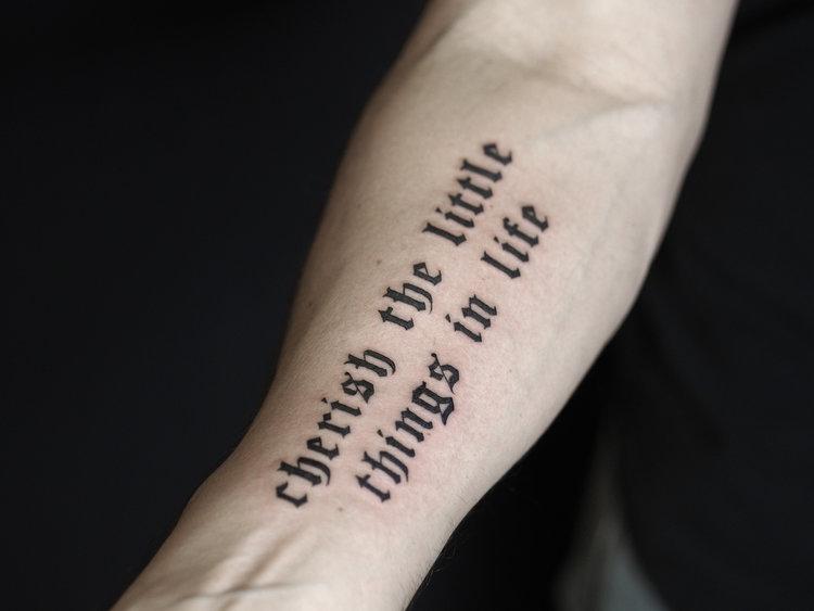 Script tattoo by Mr. Dreegz