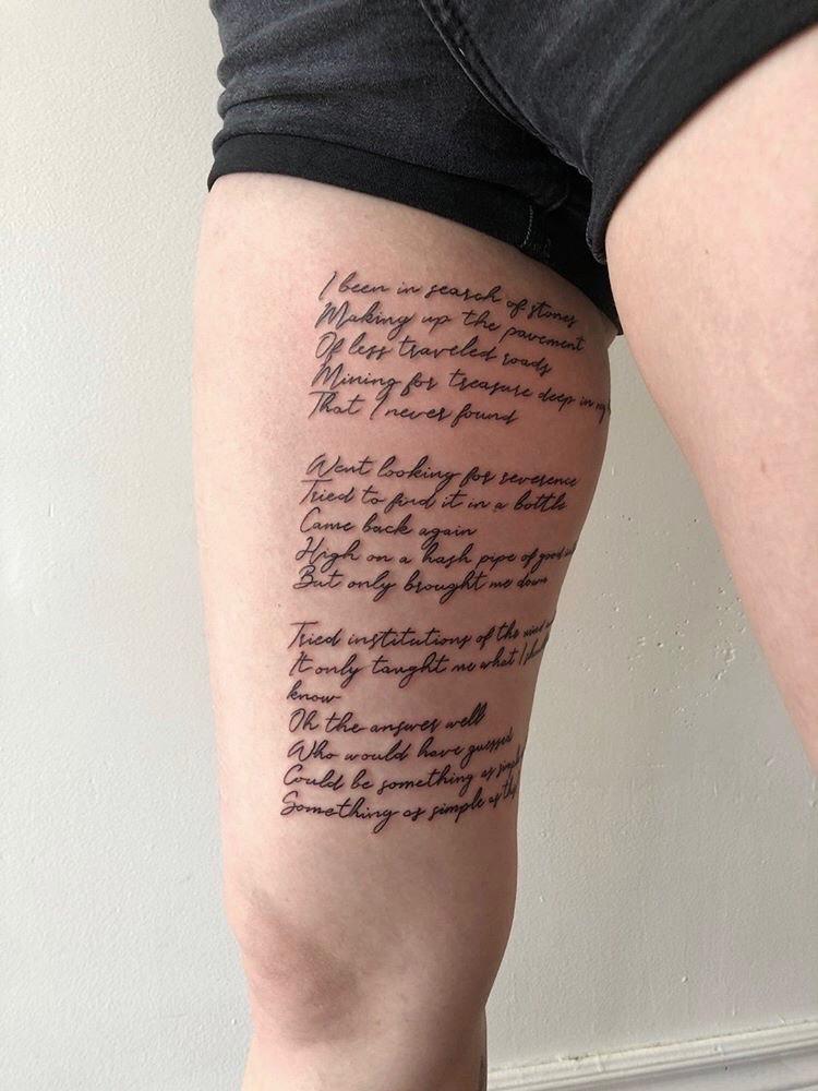 Script tattoo by Alveno