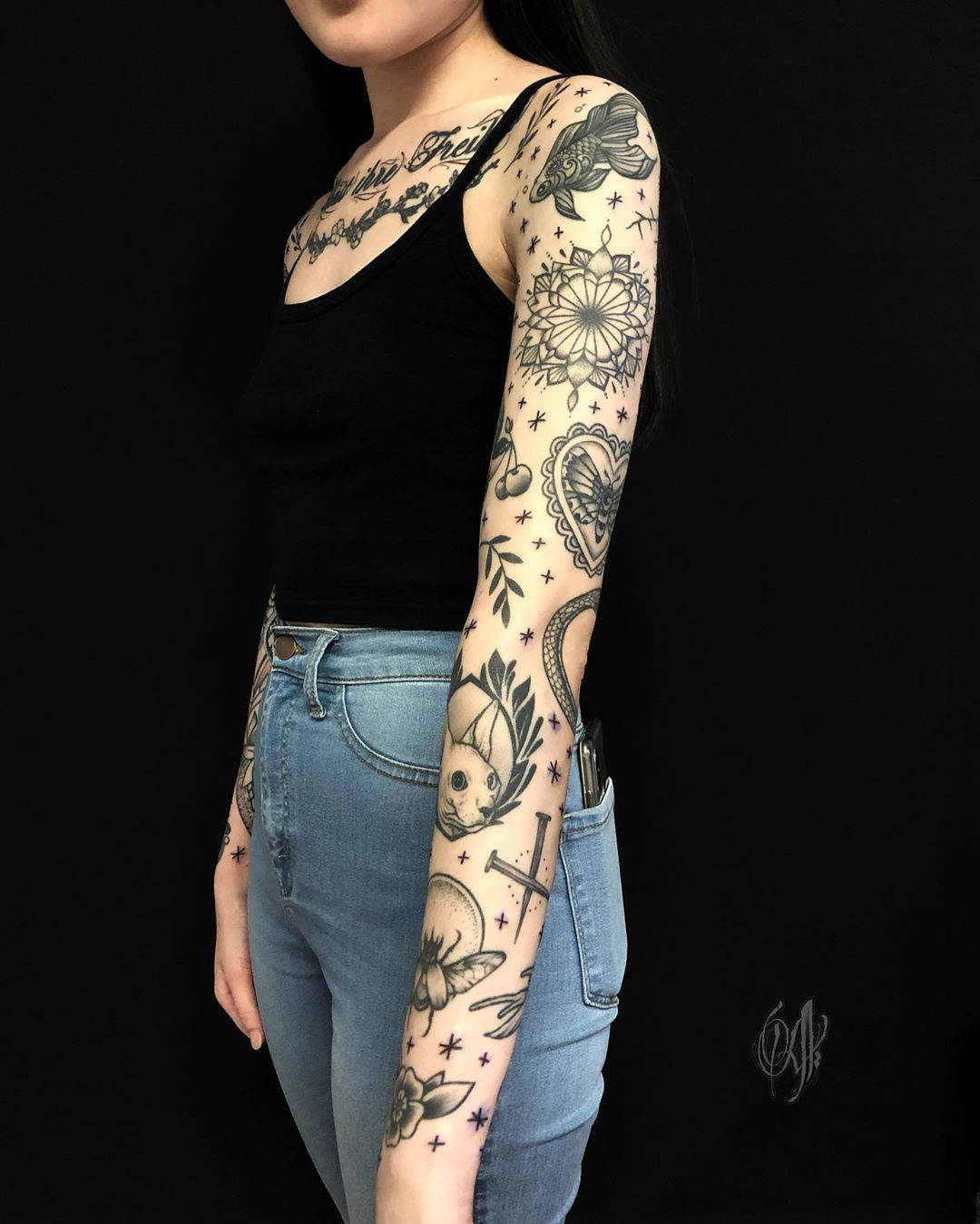 Blackwork sleeve tattoo by Alveno