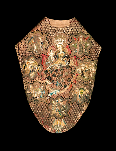 From: Uppsala Cathedral Parish, Uppland   Dated: late Middle Ages / 1450-1460-tal   Manufactured in: Sweden and Northern Europe   Material: Wire, silk, silk, pearls, plain weave