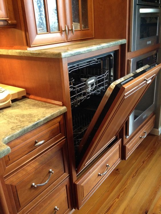 A raised dishwasher and an option for lower level cabinetry is a great way to modify kitchen storage for the aging in place concept.
