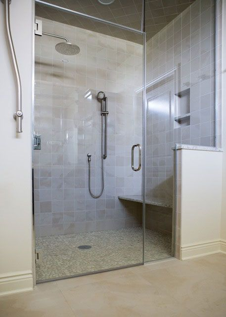 A zero-entry shower is both accommodating and aesthetically appealing.