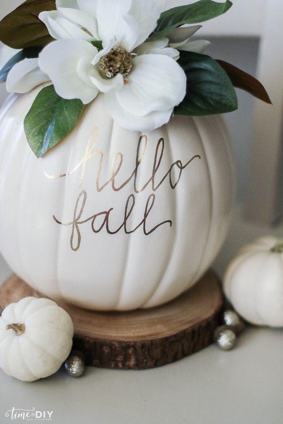 We love  this pretty DIY for a magnolia pumpkin.