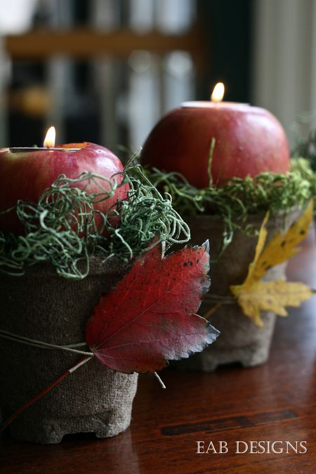 Make an apple into a  candle votive for a fall centerpiece your guests will love.